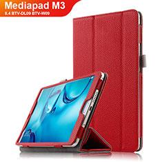 Housse Clapet Portefeuille Livre Cuir L03 pour Huawei Mediapad M3 8.4 BTV-DL09 BTV-W09 Rouge