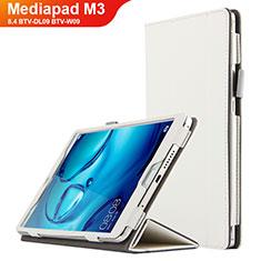 Housse Clapet Portefeuille Livre Cuir L04 pour Huawei Mediapad M3 8.4 BTV-DL09 BTV-W09 Blanc