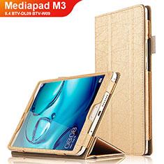 Housse Clapet Portefeuille Livre Cuir L04 pour Huawei Mediapad M3 8.4 BTV-DL09 BTV-W09 Or