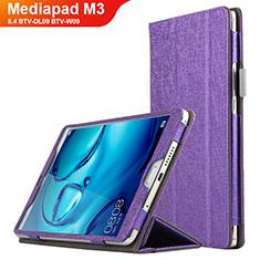 Housse Clapet Portefeuille Livre Cuir L04 pour Huawei Mediapad M3 8.4 BTV-DL09 BTV-W09 Violet