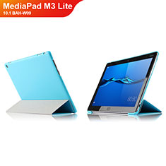 Housse Clapet Portefeuille Livre Cuir L04 pour Huawei MediaPad M3 Lite 10.1 BAH-W09 Bleu Ciel