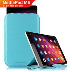 Housse Clapet Portefeuille Livre Cuir L06 pour Huawei MediaPad M5 8.4 SHT-AL09 SHT-W09 Bleu Ciel