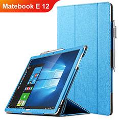 Housse Clapet Portefeuille Livre Cuir pour Huawei Matebook E 12 Bleu