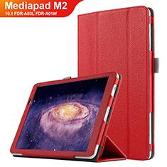 Housse Clapet Portefeuille Livre Cuir pour Huawei MediaPad M2 10.1 FDR-A03L FDR-A01W Rouge