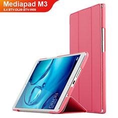 Housse Clapet Portefeuille Livre Cuir pour Huawei Mediapad M3 8.4 BTV-DL09 BTV-W09 Rouge