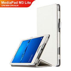 Housse Clapet Portefeuille Livre Cuir pour Huawei MediaPad M3 Lite 8.0 CPN-W09 CPN-AL00 Blanc