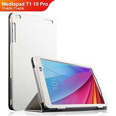 Housse Clapet Portefeuille Livre Cuir pour Huawei Mediapad T1 10 Pro T1-A21L T1-A23L Blanc