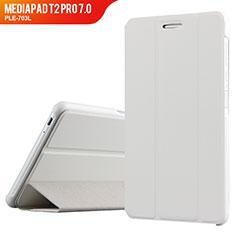 Housse Clapet Portefeuille Livre Cuir pour Huawei MediaPad T2 Pro 7.0 PLE-703L Blanc