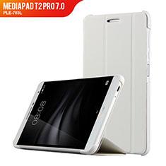 Housse Clapet Portefeuille Livre Cuir R01 pour Huawei MediaPad T2 Pro 7.0 PLE-703L Blanc