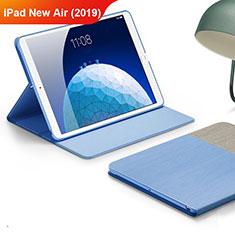 Housse Clapet Portefeuille Livre Tissu pour Apple iPad Air 3 Bleu Ciel