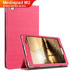 Housse Clapet Portefeuille Livre Tissu pour Huawei Mediapad M2 8 M2-801w M2-803L M2-802L Rouge