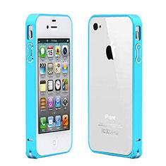 Housse Contour Luxe Aluminum Metal pour Apple iPhone 4 Bleu Ciel