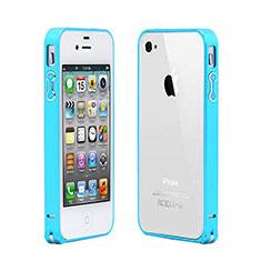 Housse Contour Luxe Aluminum Metal pour Apple iPhone 4S Bleu Ciel