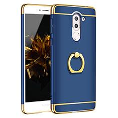 Housse Contour Luxe Metal et Plastique avec Support Bague Anneau pour Huawei Honor 6X Pro Bleu