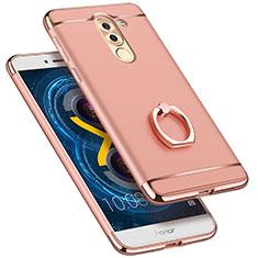 Housse Contour Luxe Metal et Plastique avec Support Bague Anneau pour Huawei Honor 6X Pro Or Rose