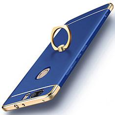 Housse Contour Luxe Metal et Plastique avec Support Bague Anneau pour Huawei Honor V8 Bleu