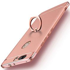 Housse Contour Luxe Metal et Plastique avec Support Bague Anneau pour Huawei Honor V8 Or Rose