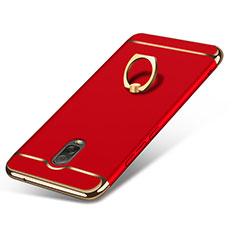 Housse Contour Luxe Metal et Plastique avec Support Bague Anneau pour Samsung Galaxy J7 Plus Rouge