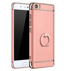 Housse Contour Luxe Metal et Plastique avec Support Bague Anneau pour Xiaomi Mi 5 Or Rose