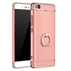 Housse Contour Luxe Metal et Plastique avec Support Bague Anneau pour Xiaomi Mi 5S 4G Or Rose