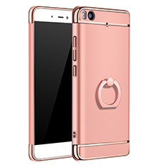 Housse Contour Luxe Metal et Plastique avec Support Bague Anneau pour Xiaomi Mi 5S Or Rose