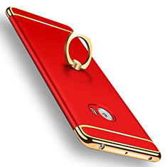 Housse Contour Luxe Metal et Plastique avec Support Bague Anneau pour Xiaomi Mi Note 2 Special Edition Rouge