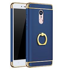 Housse Contour Luxe Metal et Plastique avec Support Bague Anneau pour Xiaomi Redmi Note 4X Bleu