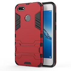Housse Contour Silicone et Plastique Mat avec Support pour Huawei Y6 Pro (2017) Rouge