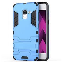 Housse Contour Silicone et Plastique Mat avec Support pour Samsung Galaxy A5 (2018) A530F Bleu
