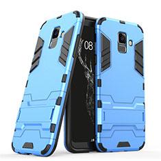 Housse Contour Silicone et Plastique Mat avec Support pour Samsung Galaxy A6 (2018) Dual SIM Bleu