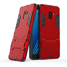 Housse Contour Silicone et Plastique Mat avec Support pour Samsung Galaxy A8+ A8 Plus (2018) Duos A730F Rouge