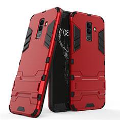 Housse Contour Silicone et Plastique Mat avec Support pour Samsung Galaxy A9 Star Lite Rouge