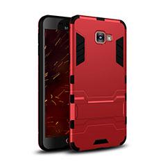 Housse Contour Silicone et Plastique Mat avec Support pour Samsung Galaxy C7 SM-C7000 Rouge