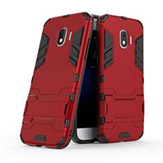 Housse Contour Silicone et Plastique Mat avec Support pour Samsung Galaxy J2 Pro (2018) J250F Rouge