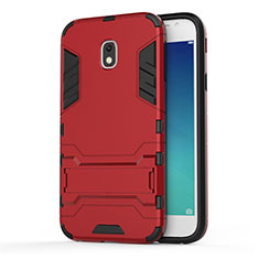 Housse Contour Silicone et Plastique Mat avec Support pour Samsung Galaxy J3 Pro (2017) Rouge