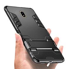 Housse Contour Silicone et Plastique Mat avec Support pour Samsung Galaxy J5 (2017) SM-J750F Noir