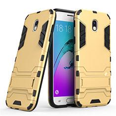 Housse Contour Silicone et Plastique Mat avec Support pour Samsung Galaxy J5 (2017) SM-J750F Or
