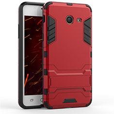 Housse Contour Silicone et Plastique Mat avec Support pour Samsung Galaxy J5 (2017) Version Americaine Rouge