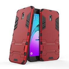 Housse Contour Silicone et Plastique Mat avec Support pour Samsung Galaxy J7 (2018) J737 Rouge
