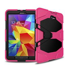 Housse Contour Silicone et Plastique Mat avec Support pour Samsung Galaxy Tab A6 10.1 SM-T580 SM-T585 Rose Rouge