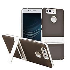 Housse Contour Silicone et Vitre Mat avec Bequille pour Huawei P9 Plus Gris