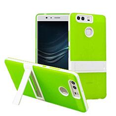 Housse Contour Silicone et Vitre Mat avec Bequille pour Huawei P9 Plus Vert