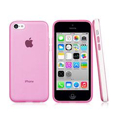 Housse Contour Silicone et Vitre Transparente Mat pour Apple iPhone 5C Rose