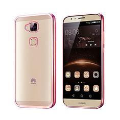 Housse Contour Silicone et Vitre Transparente Mat pour Huawei G7 Plus Or Rose