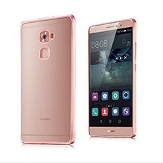 Housse Contour Silicone et Vitre Transparente Mat pour Huawei Mate S Or Rose