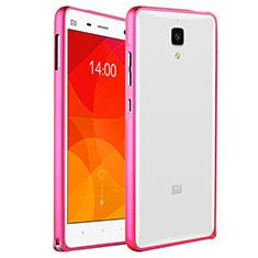 Housse Contour Silicone et Vitre Transparente Mat pour Xiaomi Mi 4 LTE Rose
