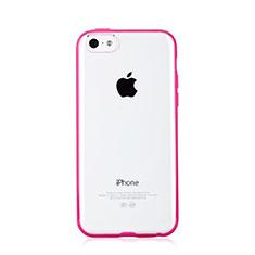 Housse Contour Silicone et Vitre Transparente T01 pour Apple iPhone 5C Rose Rouge