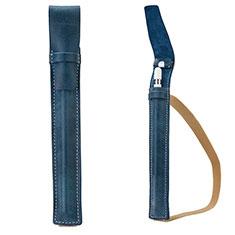 Housse en Cuir Protection Sac Pochette Elastique Douille de Poche Detachable P02 pour Apple Pencil Apple iPad Pro 12.9 Bleu