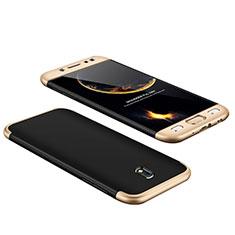 Housse Plastique Mat Protection Integrale 360 Degres Avant et Arriere pour Samsung Galaxy J7 Pro Or et Noir