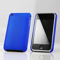Housse Plastique Rigide Mailles Filet pour Apple iPhone 3G 3GS Bleu